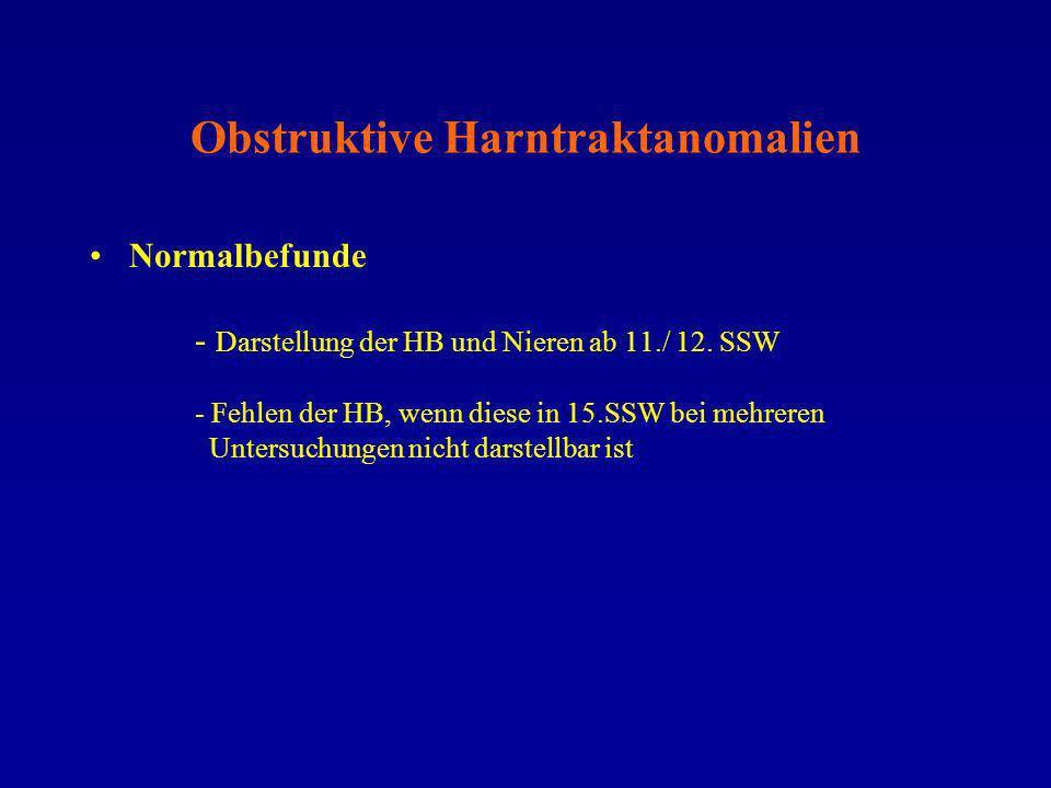 Obstruktive Harntraktanomalien Normalbefunde - Darstellung der HB und Nieren ab 11./ 12. SSW - Fehlen der HB, wenn diese in 15.SSW bei mehreren Unters