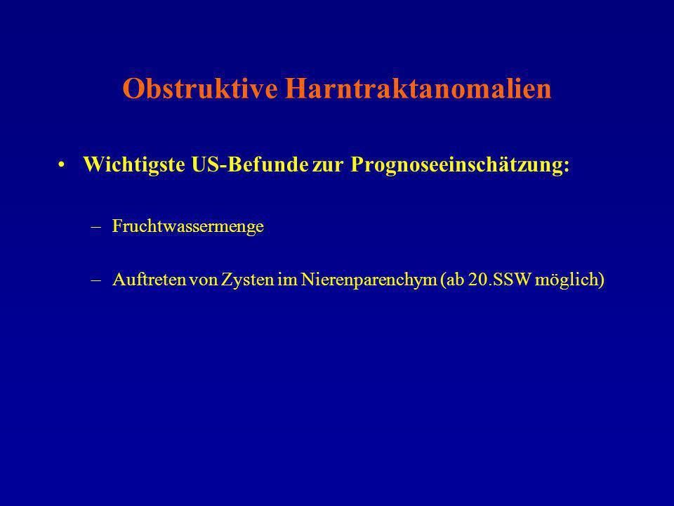 Obstruktive Harntraktanomalien Prognose gut: –FW-Depots an 2 Stellen = 2 cm –Einseitiger Obstruktion Prognose abhängig von Lokalisation: –Erweiterung NBKS, Ureteren, Harnblase
