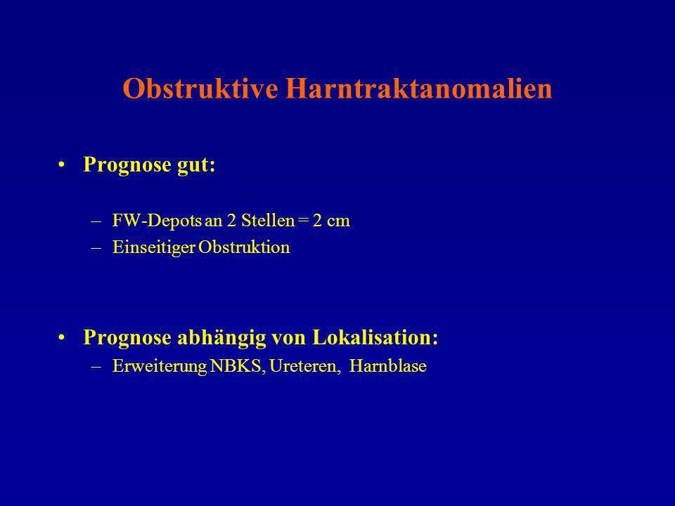 Autosomal dominante polyzystische Nierenerkrankung US-Befunde: –Häufig pränatal nicht diagnostizierbar –Vergrößerung beider (einer) Niere –Einzelne Nierenzysten unterschiedlicher Größe –Darstellbar ab dem II.