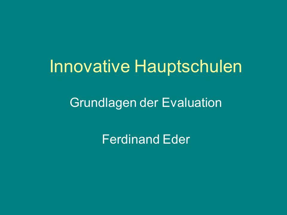 Prinzipien Evaluation dient der Unterstützung eines Entwicklungsprozesses (nicht primär der Kontrolle) und soll zum Aufbau von Kompetenzen an den Schulen führen.