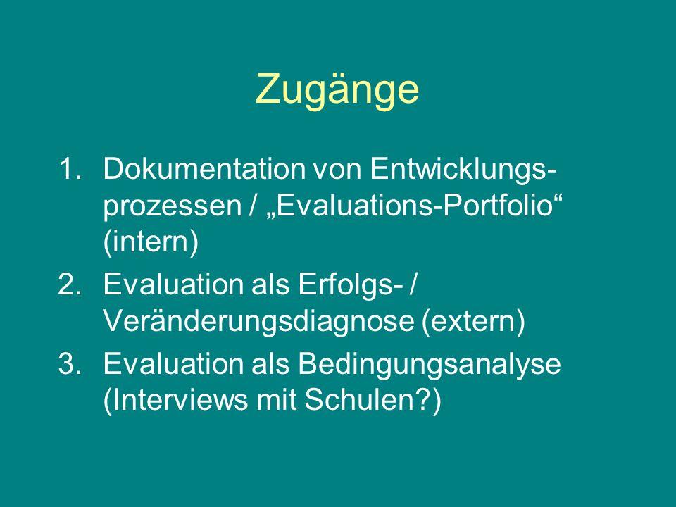 Zugänge 1.Dokumentation von Entwicklungs- prozessen / Evaluations-Portfolio (intern) 2.Evaluation als Erfolgs- / Veränderungsdiagnose (extern) 3.Evaluation als Bedingungsanalyse (Interviews mit Schulen )