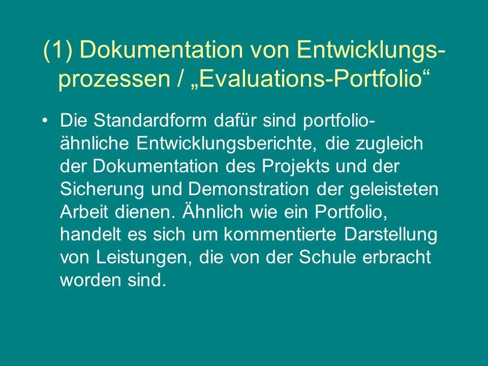 (1) Dokumentation von Entwicklungs- prozessen / Evaluations-Portfolio Die Standardform dafür sind portfolio- ähnliche Entwicklungsberichte, die zugleich der Dokumentation des Projekts und der Sicherung und Demonstration der geleisteten Arbeit dienen.