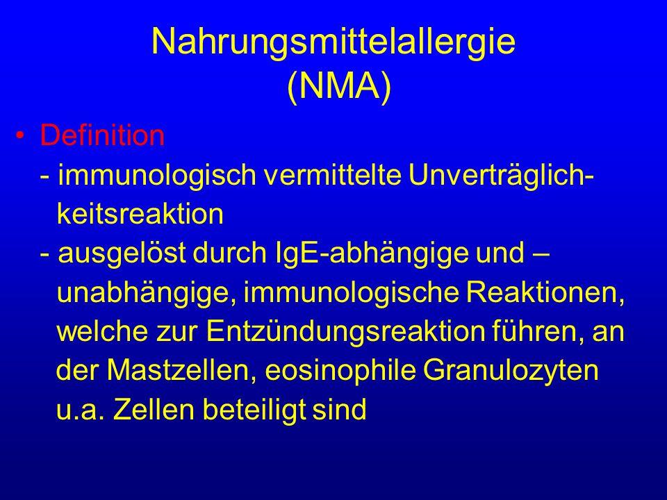 Nahrungsmittelallergie (NMA) Definition - immunologisch vermittelte Unverträglich- keitsreaktion - ausgelöst durch IgE-abhängige und – unabhängige, im