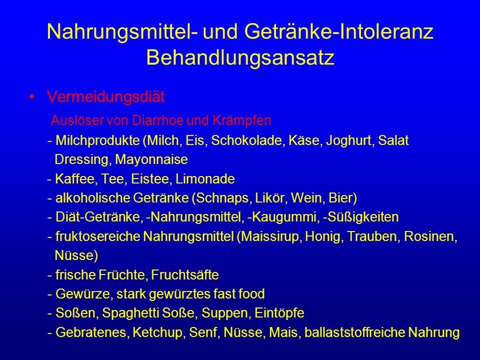 Nahrungsmittel- und Getränke-Intoleranz Behandlungsansatz Vermeidungsdiät Auslöser von Diarrhoe und Krämpfen - Milchprodukte (Milch, Eis, Schokolade,
