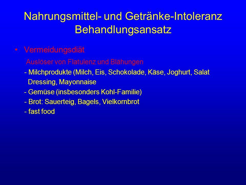 Nahrungsmittel- und Getränke-Intoleranz Behandlungsansatz Vermeidungsdiät Auslöser von Flatulenz und Blähungen - Milchprodukte (Milch, Eis, Schokolade