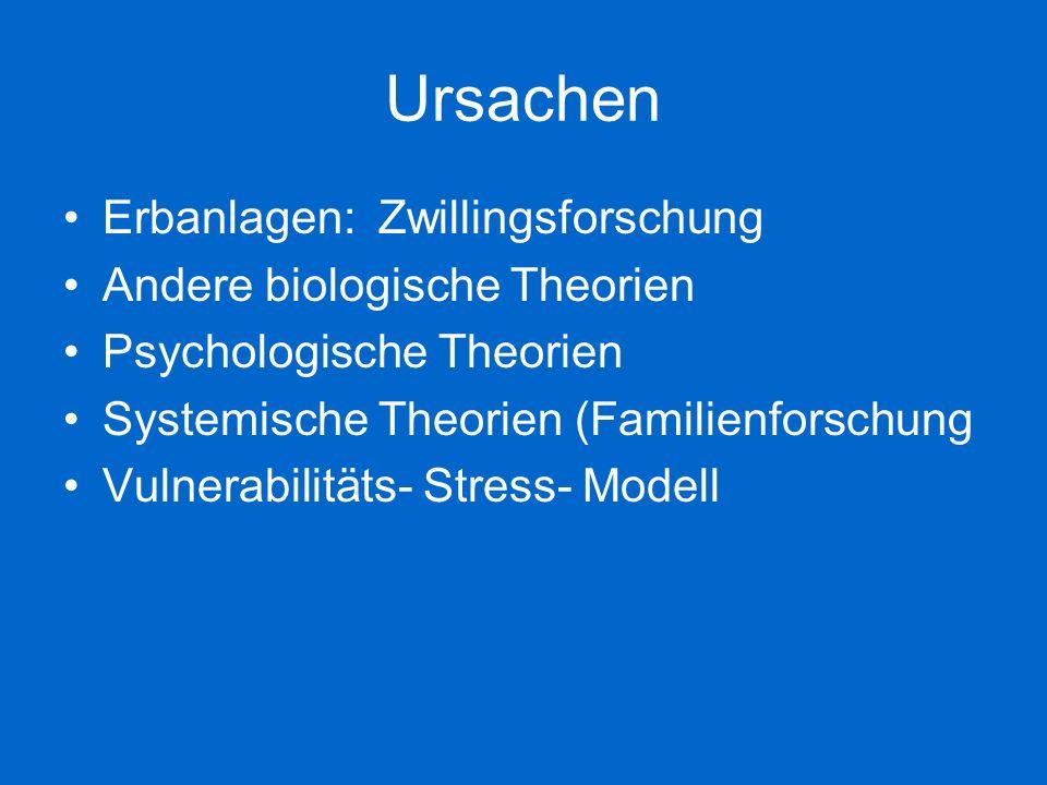 Ursachen Erbanlagen: Zwillingsforschung Andere biologische Theorien Psychologische Theorien Systemische Theorien (Familienforschung Vulnerabilitäts- S