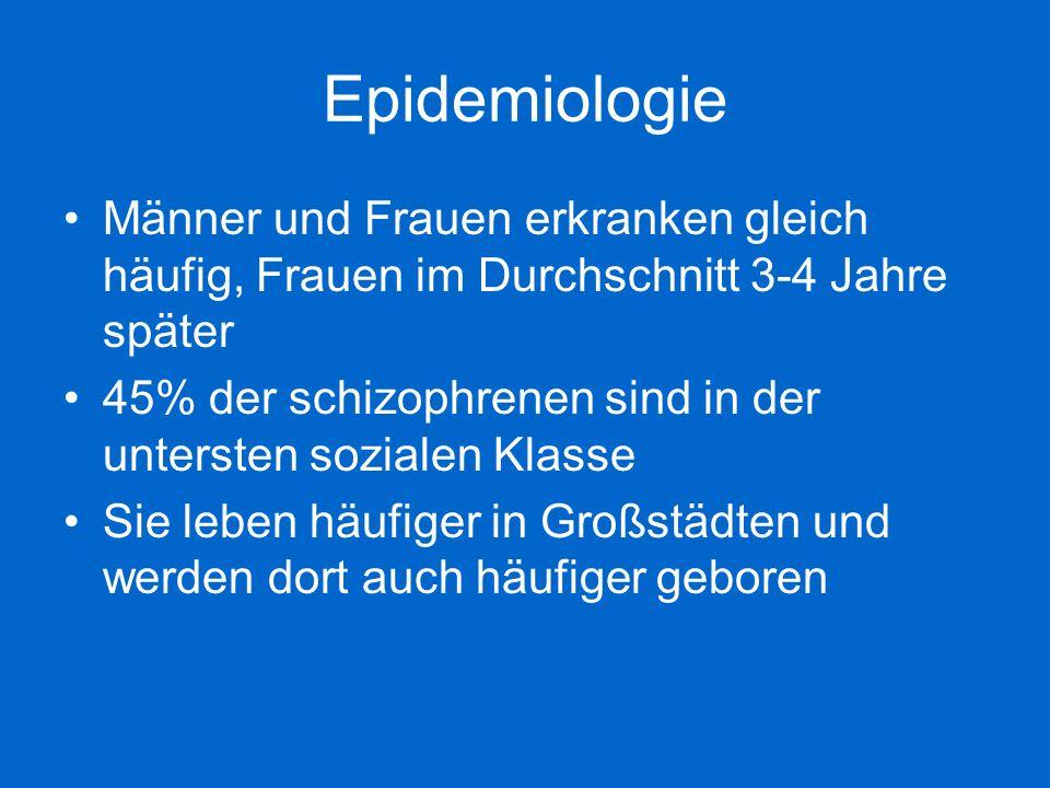 Epidemiologie Männer und Frauen erkranken gleich häufig, Frauen im Durchschnitt 3-4 Jahre später 45% der schizophrenen sind in der untersten sozialen