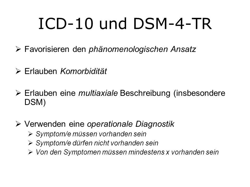 Achsen des DSM-4-TR Achse I: Klinische Störungen, andere klinisch relevante Probleme (z.B.