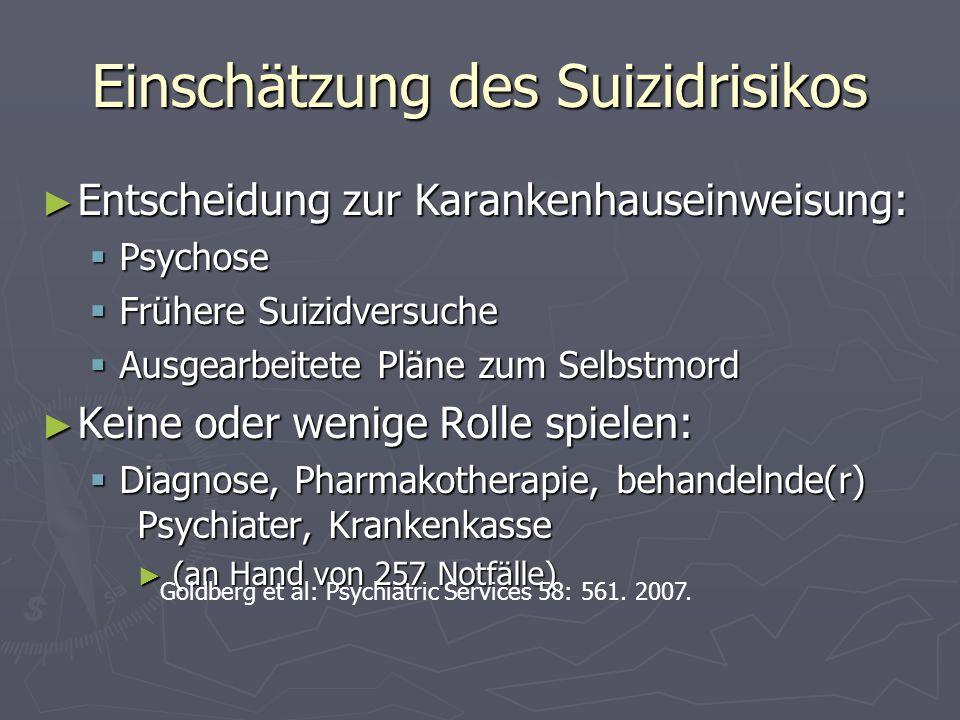 Einschätzung des Suizidrisikos Entscheidung zur Karankenhauseinweisung: Entscheidung zur Karankenhauseinweisung: Psychose Psychose Frühere Suizidversu