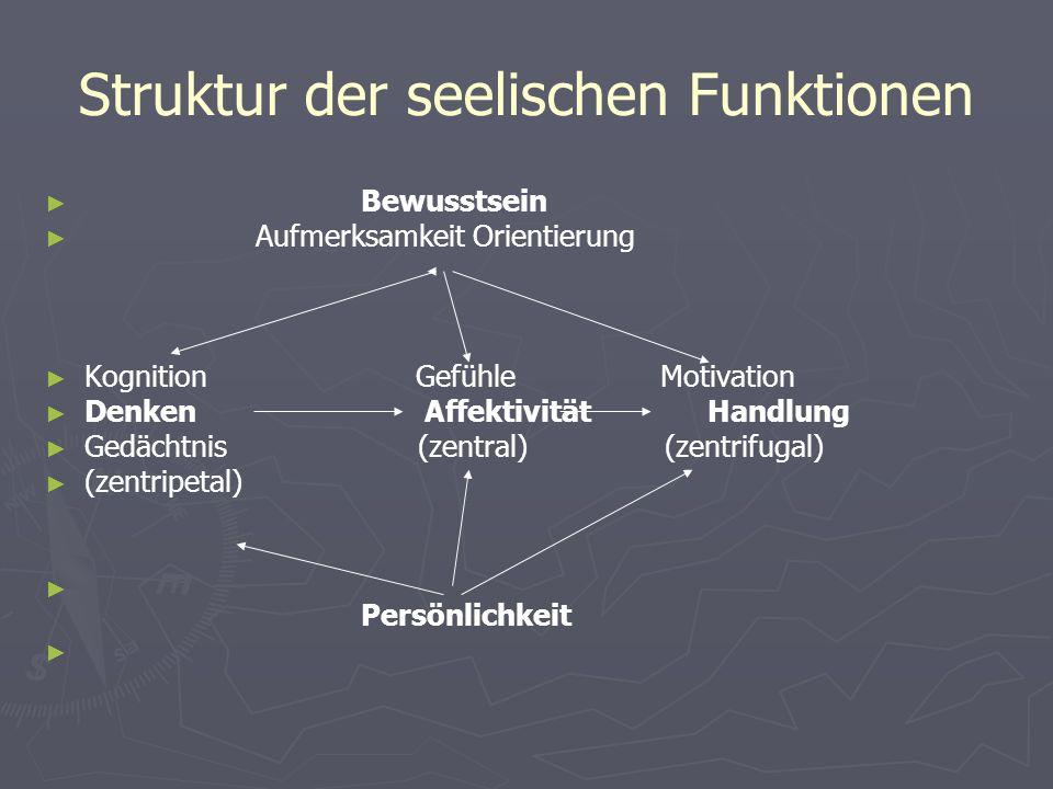 Struktur der seelischen Funktionen Bewusstsein Aufmerksamkeit Orientierung Kognition Gefühle Motivation Denken Affektivität Handlung Gedächtnis (zentr