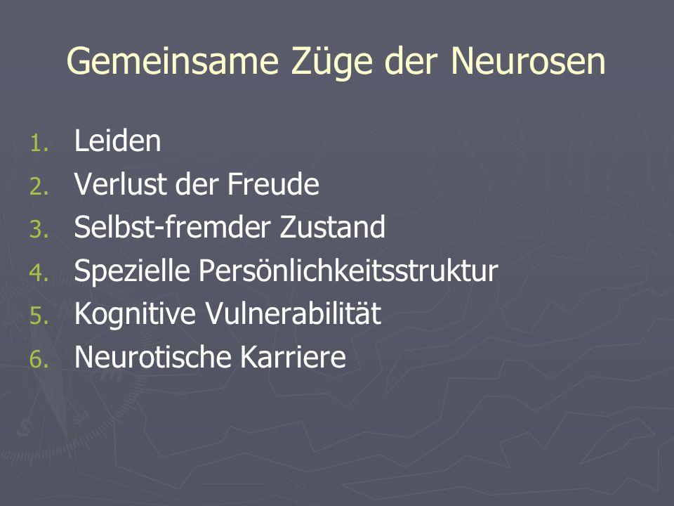 Gemeinsame Züge der Neurosen 1. 1. Leiden 2. 2. Verlust der Freude 3. 3. Selbst-fremder Zustand 4. 4. Spezielle Persönlichkeitsstruktur 5. 5. Kognitiv