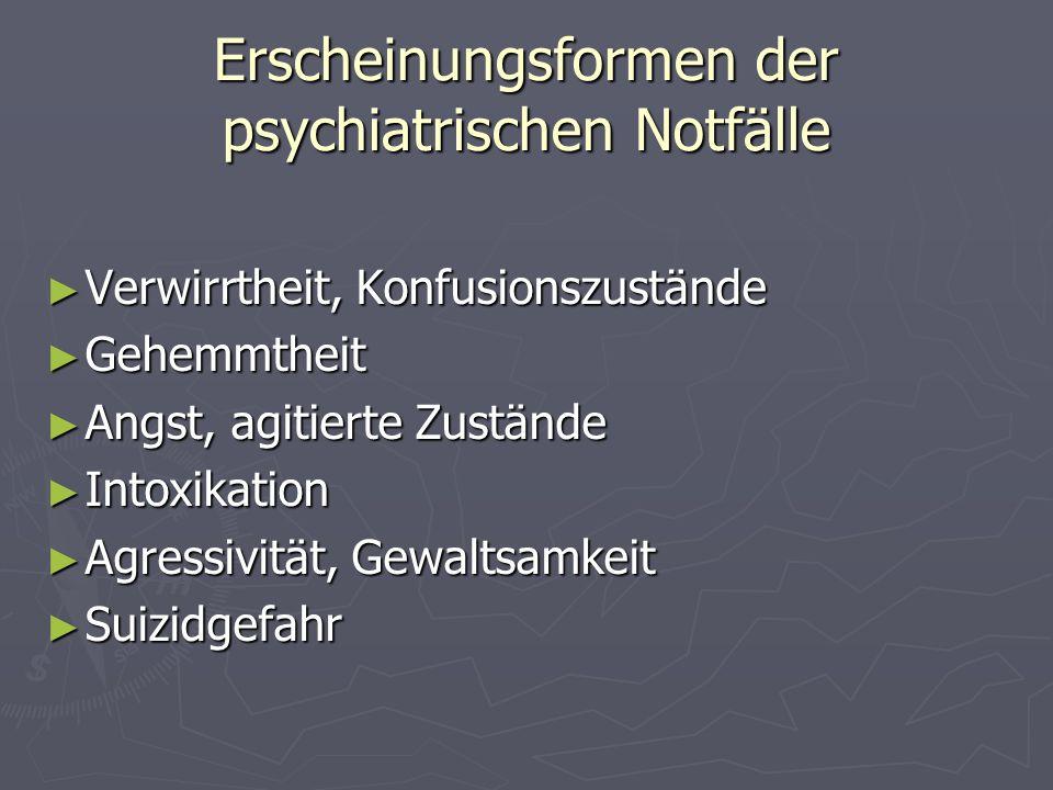 Erscheinungsformen der psychiatrischen Notfälle Verwirrtheit, Konfusionszustände Verwirrtheit, Konfusionszustände Gehemmtheit Gehemmtheit Angst, agiti