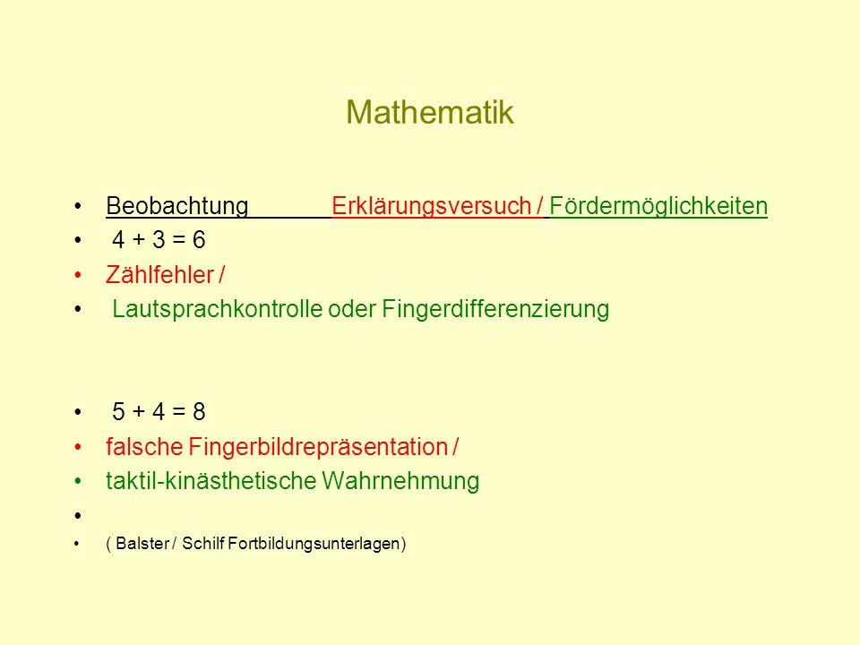 Mathematik Beobachtung Erklärungsversuch / Fördermöglichkeiten 4 + 3 = 6 Zählfehler / Lautsprachkontrolle oder Fingerdifferenzierung 5 + 4 = 8 falsche