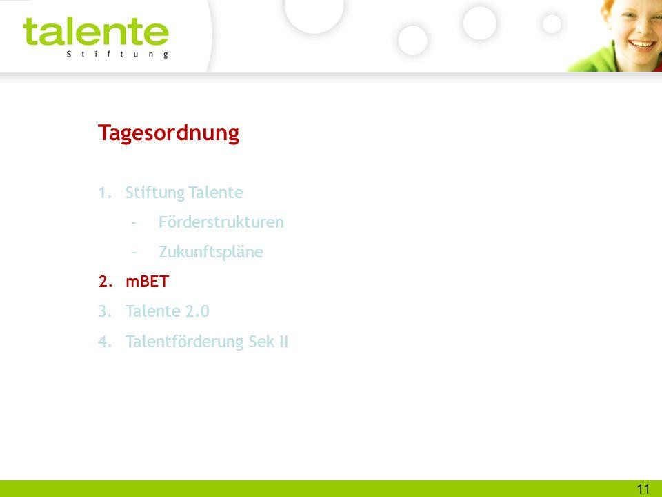 11 Tagesordnung 1.Stiftung Talente -Förderstrukturen -Zukunftspläne 2.mBET 3.Talente 2.0 4.Talentförderung Sek II