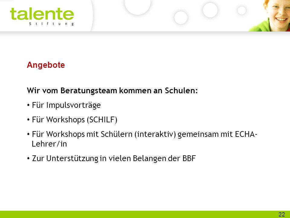 22 Angebote Wir vom Beratungsteam kommen an Schulen: Für Impulsvorträge Für Workshops (SCHILF) Für Workshops mit Schülern (interaktiv) gemeinsam mit E