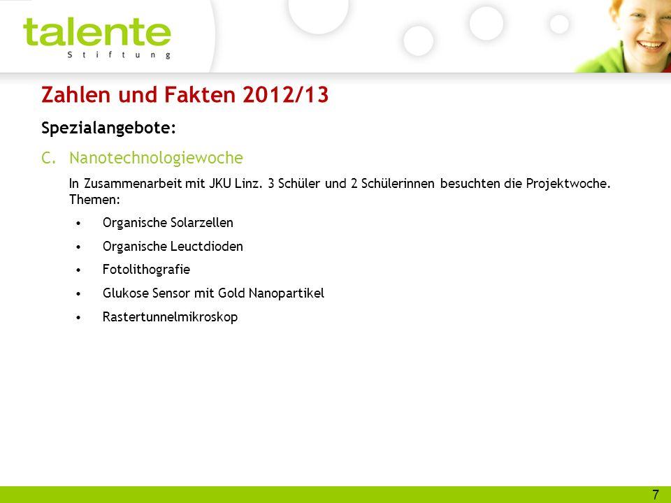 7 Zahlen und Fakten 2012/13 Spezialangebote: C.Nanotechnologiewoche In Zusammenarbeit mit JKU Linz.