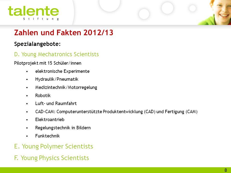 8 Zahlen und Fakten 2012/13 Spezialangebote: D. Young Mechatronics Scientists Pilotprojekt mit 15 Schüler/innen elektronische Experimente Hydraulik/Pn