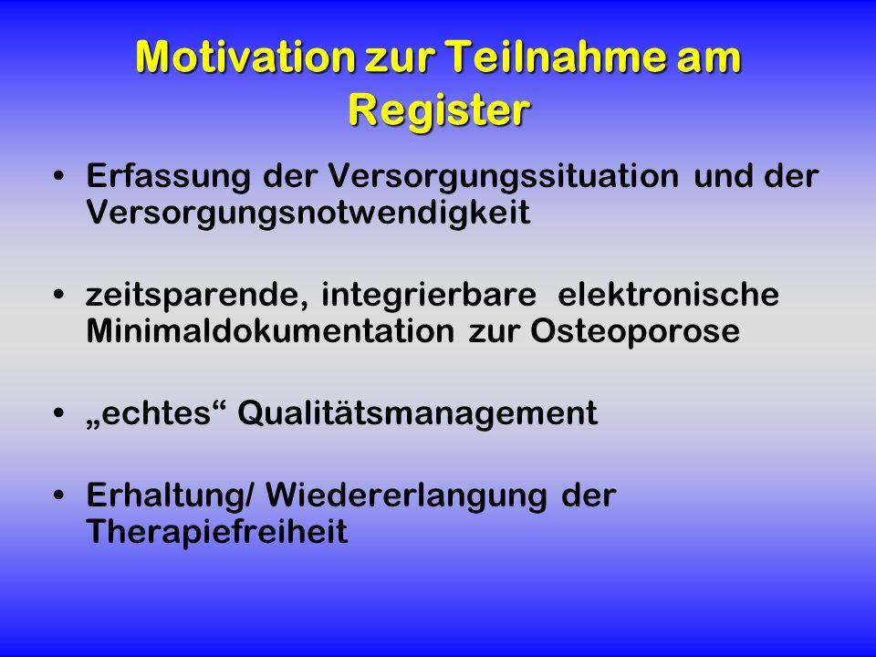 Motivation zur Teilnahme am Register Erfassung der Versorgungssituation und der Versorgungsnotwendigkeit zeitsparende, integrierbare elektronische Min