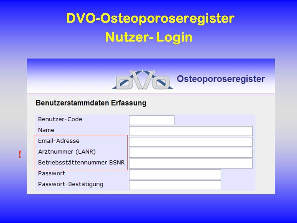 DVO-Osteoporoseregister Nutzer- Login !