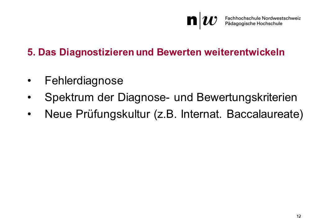 12 Fehlerdiagnose Spektrum der Diagnose- und Bewertungskriterien Neue Prüfungskultur (z.B. Internat. Baccalaureate) 5. Das Diagnostizieren und Bewerte