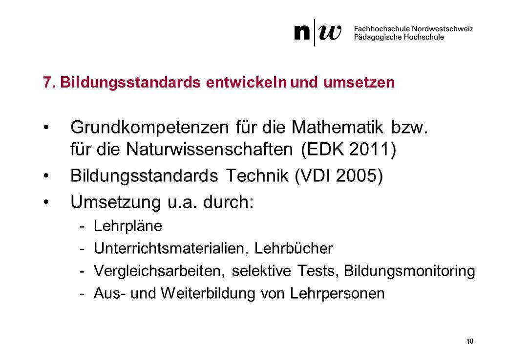 18 Grundkompetenzen für die Mathematik bzw. für die Naturwissenschaften (EDK 2011) Bildungsstandards Technik (VDI 2005) Umsetzung u.a. durch: -Lehrplä