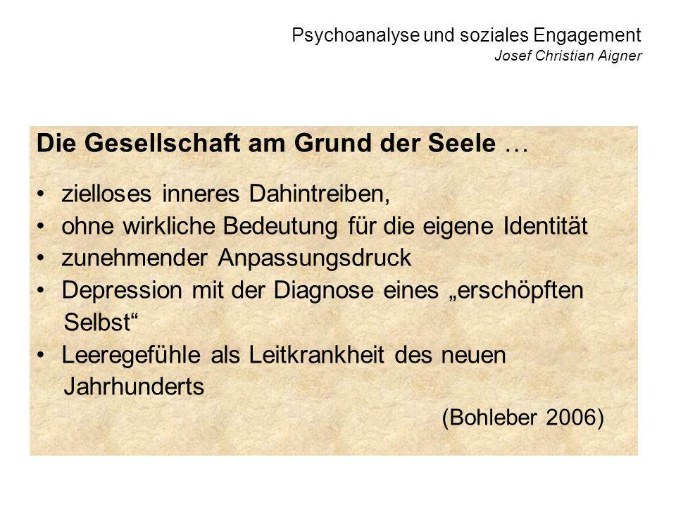 Psychoanalyse und soziales Engagement Josef Christian Aigner Die Psychoanalyse findet die Gesellschaft in der individuellen Monade wieder, in dem, was dem Allgemeinen (der Gesell- schaft) scheinbar entgegengesetzt ist.