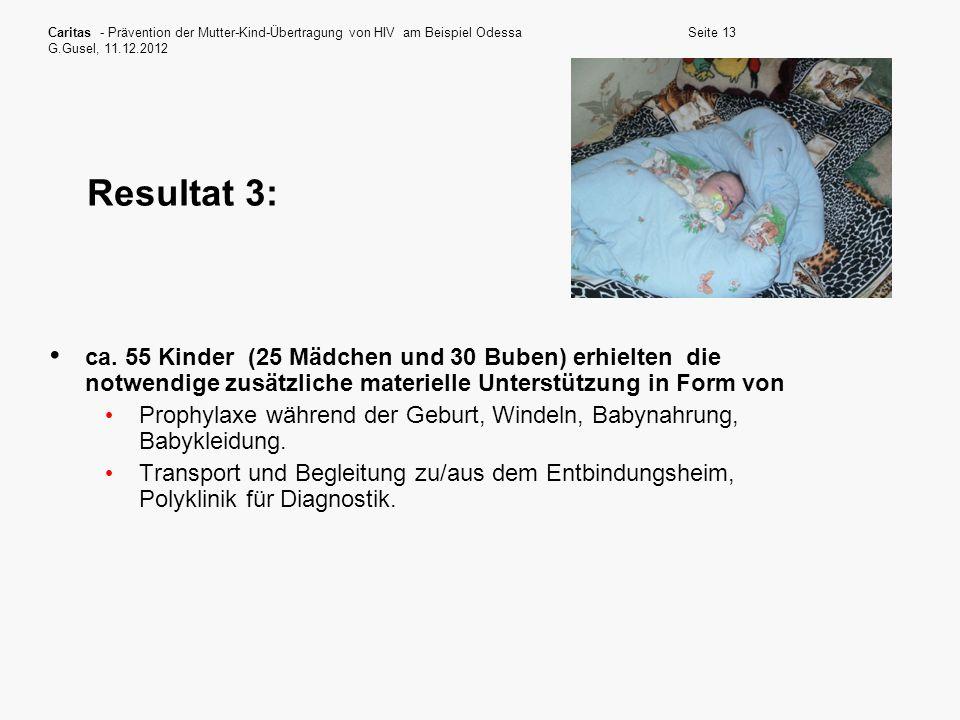 Caritas - Prävention der Mutter-Kind-Übertragung von HIV am Beispiel Odessa G.Gusel, 11.12.2012 Seite 13 Resultat 3: ca. 55 Kinder (25 Mädchen und 30
