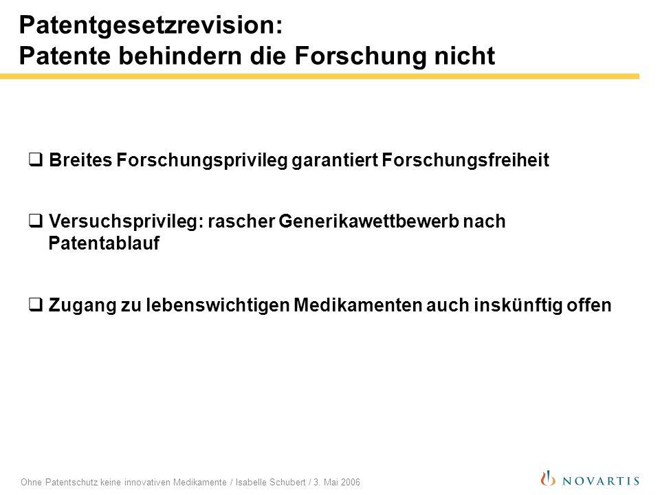 Ohne Patentschutz keine innovativen Medikamente / Isabelle Schubert / 3. Mai 2006 Patentgesetzrevision: Patente behindern die Forschung nicht Breites