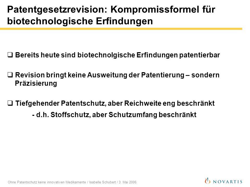 Ohne Patentschutz keine innovativen Medikamente / Isabelle Schubert / 3. Mai 2006 Patentgesetzrevision: Kompromissformel für biotechnologische Erfindu
