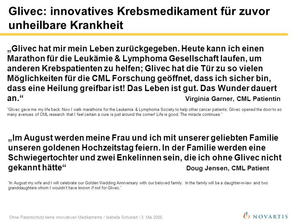 Ohne Patentschutz keine innovativen Medikamente / Isabelle Schubert / 3. Mai 2006 Glivec: innovatives Krebsmedikament für zuvor unheilbare Krankheit G