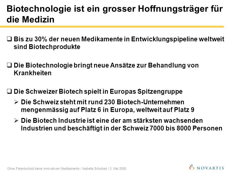 Ohne Patentschutz keine innovativen Medikamente / Isabelle Schubert / 3. Mai 2006 Biotechnologie ist ein grosser Hoffnungsträger für die Medizin Bis z