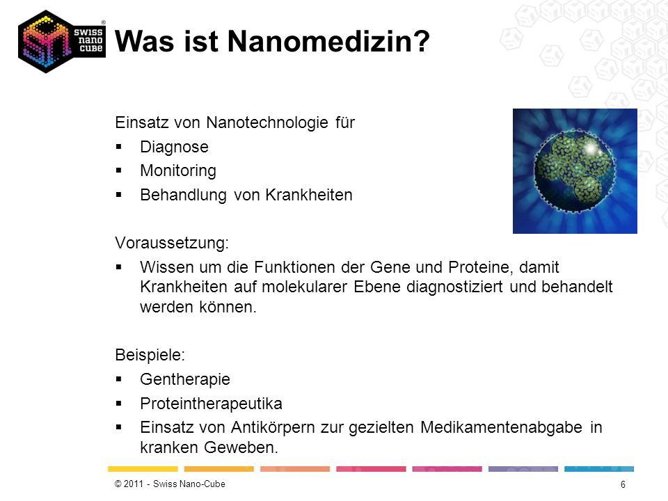 © 2011 - Swiss Nano-Cube Fünf Hauptanwendungsfelder Wirkstofftransport Neue Therapien und Wirkstoffe In-vivo-Diagnostik In-vitro-Diagnostik Medizinische Implantate 7 Quelle: Hessen-Nanotech Broschüre Nanomedizin (Band 2) Die meisten Firmen entwickeln Wirkstofftransportsysteme.