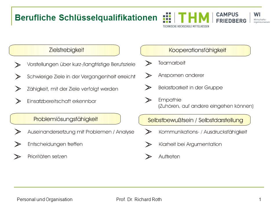 Personal und Organisation Prof. Dr. Richard Roth 1 Berufliche Schlüsselqualifikationen