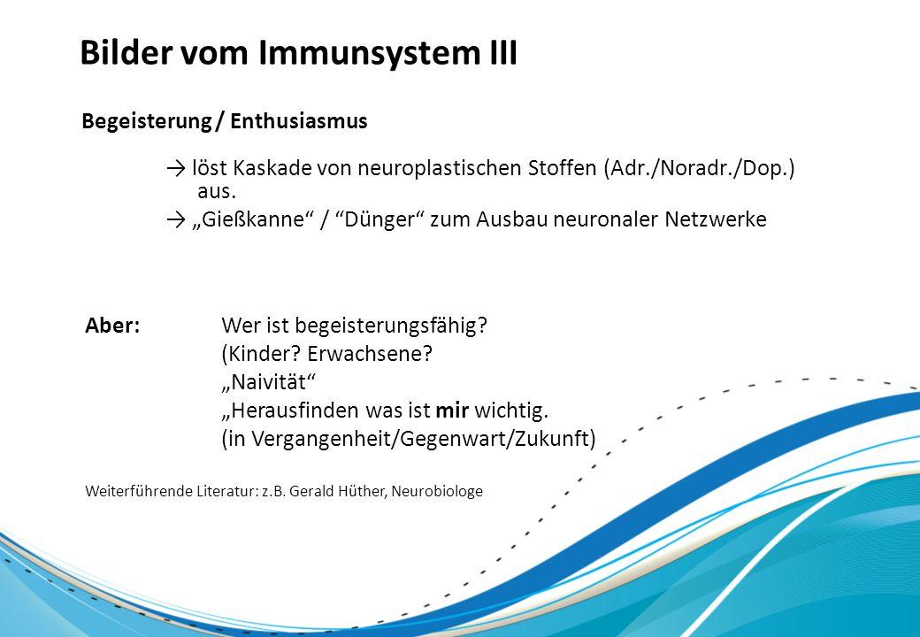 Bilder vom Immunsystem III löst Kaskade von neuroplastischen Stoffen (Adr./Noradr./Dop.) aus. Gießkanne / Dünger zum Ausbau neuronaler Netzwerke Begei