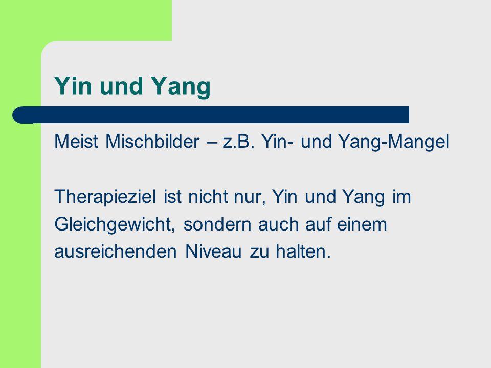 Yin und Yang Meist Mischbilder – z.B. Yin- und Yang-Mangel Therapieziel ist nicht nur, Yin und Yang im Gleichgewicht, sondern auch auf einem ausreiche