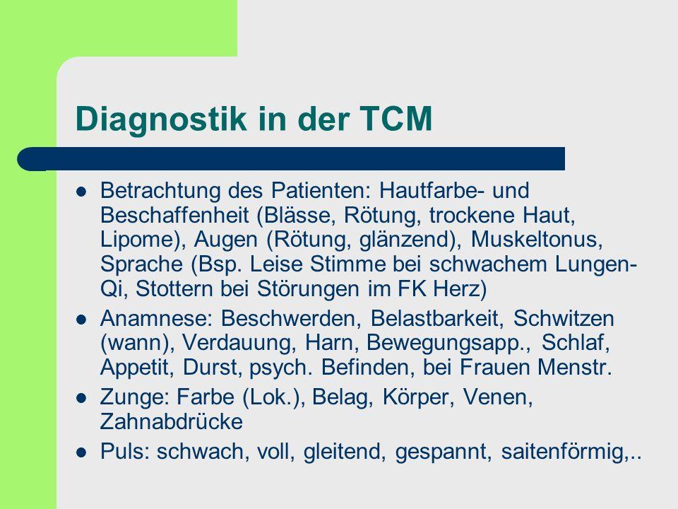 Diagnostik in der TCM Betrachtung des Patienten: Hautfarbe- und Beschaffenheit (Blässe, Rötung, trockene Haut, Lipome), Augen (Rötung, glänzend), Musk