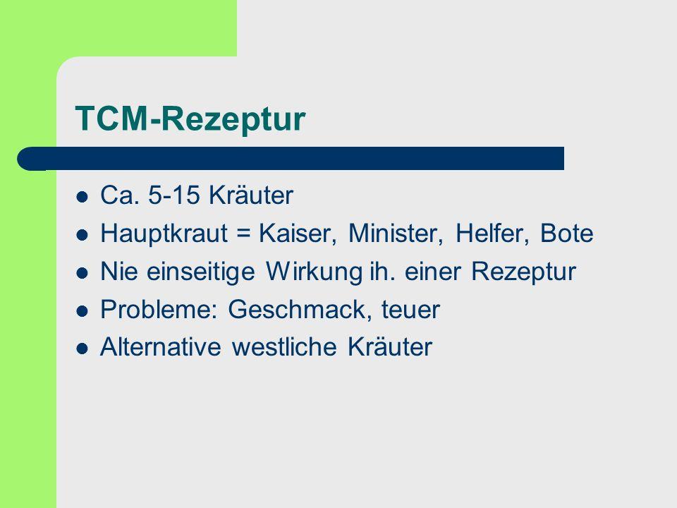 TCM-Rezeptur Ca. 5-15 Kräuter Hauptkraut = Kaiser, Minister, Helfer, Bote Nie einseitige Wirkung ih. einer Rezeptur Probleme: Geschmack, teuer Alterna