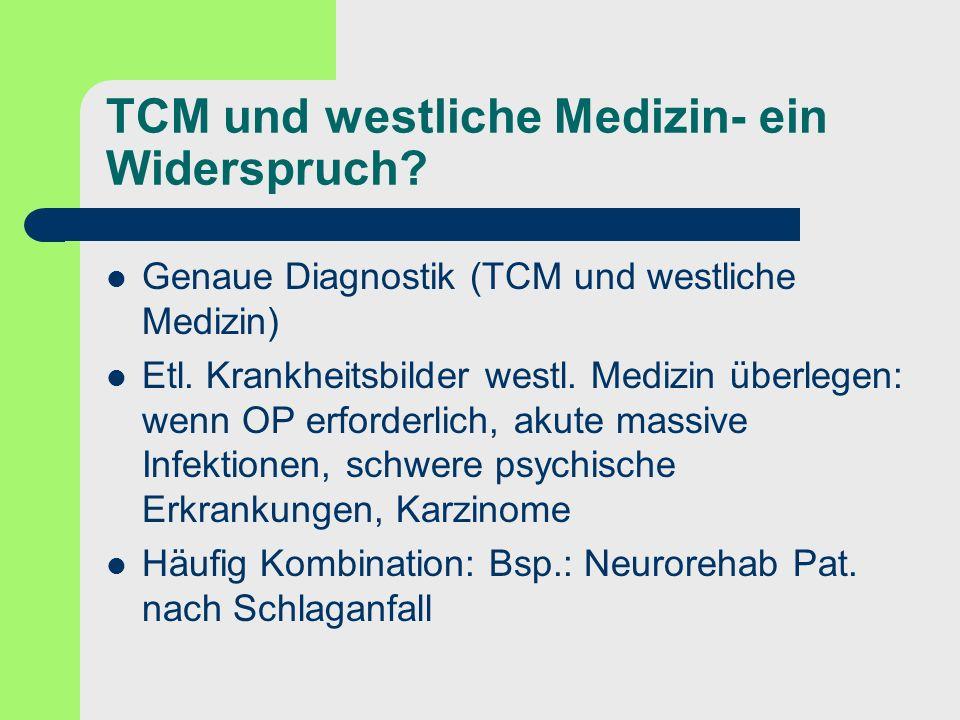 TCM und westliche Medizin- ein Widerspruch? Genaue Diagnostik (TCM und westliche Medizin) Etl. Krankheitsbilder westl. Medizin überlegen: wenn OP erfo