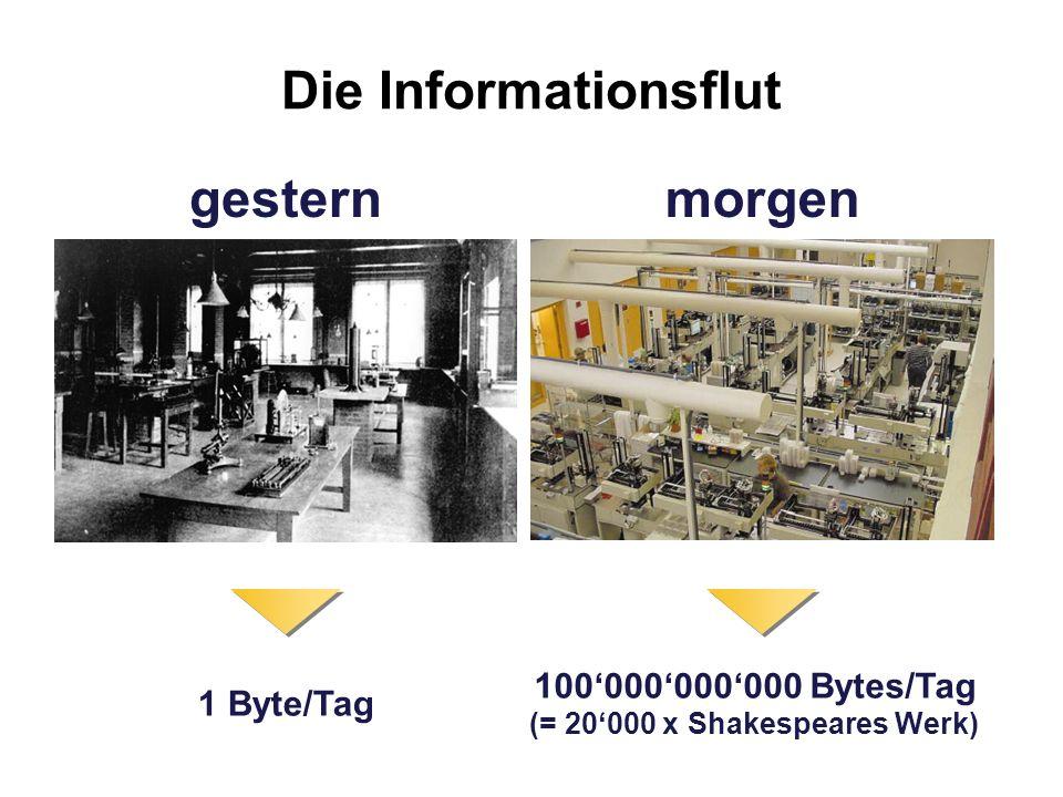 Die Informationsflut 1 Byte/Tag 100000000000 Bytes/Tag (= 20000 x Shakespeares Werk) gesternmorgen