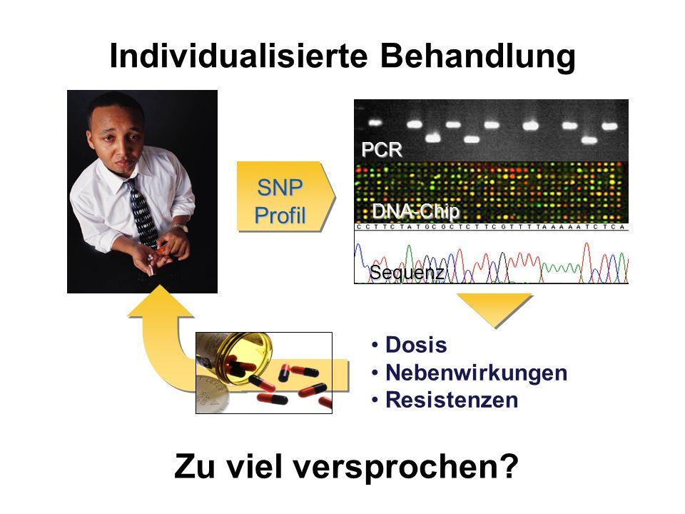 Individualisierte Behandlung Dosis Nebenwirkungen Resistenzen SNP Profil PCR DNA-Chip Sequenz Zu viel versprochen?