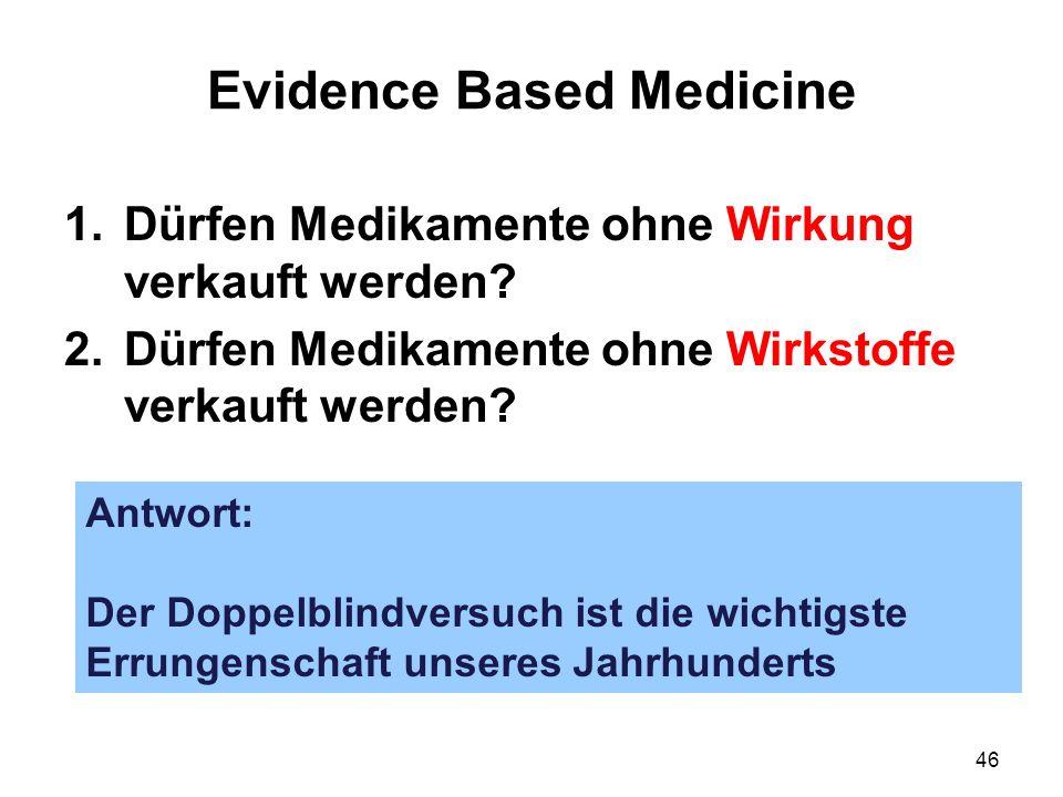 46 Evidence Based Medicine 1.Dürfen Medikamente ohne Wirkung verkauft werden? 2.Dürfen Medikamente ohne Wirkstoffe verkauft werden? Antwort: Der Doppe