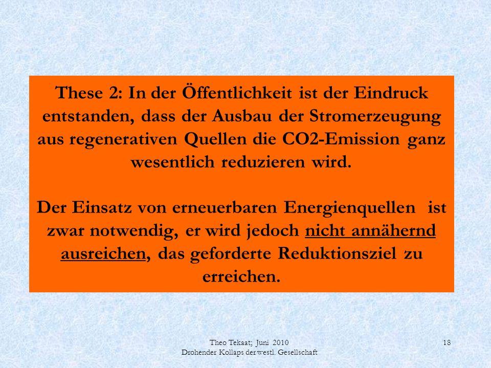 Theo Tekaat; Juni 2010 Drohender Kollaps der westl. Gesellschaft 18 These 2: In der Öffentlichkeit ist der Eindruck entstanden, dass der Ausbau der St