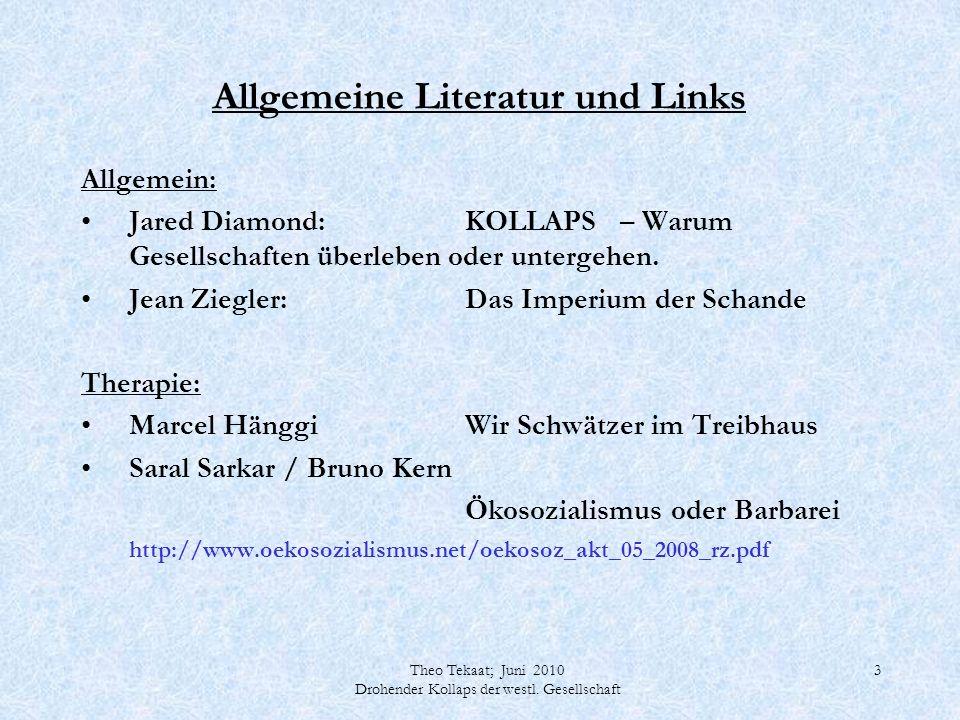 Theo Tekaat; Juni 2010 Drohender Kollaps der westl. Gesellschaft 3 Allgemeine Literatur und Links Allgemein: Jared Diamond: KOLLAPS – Warum Gesellscha