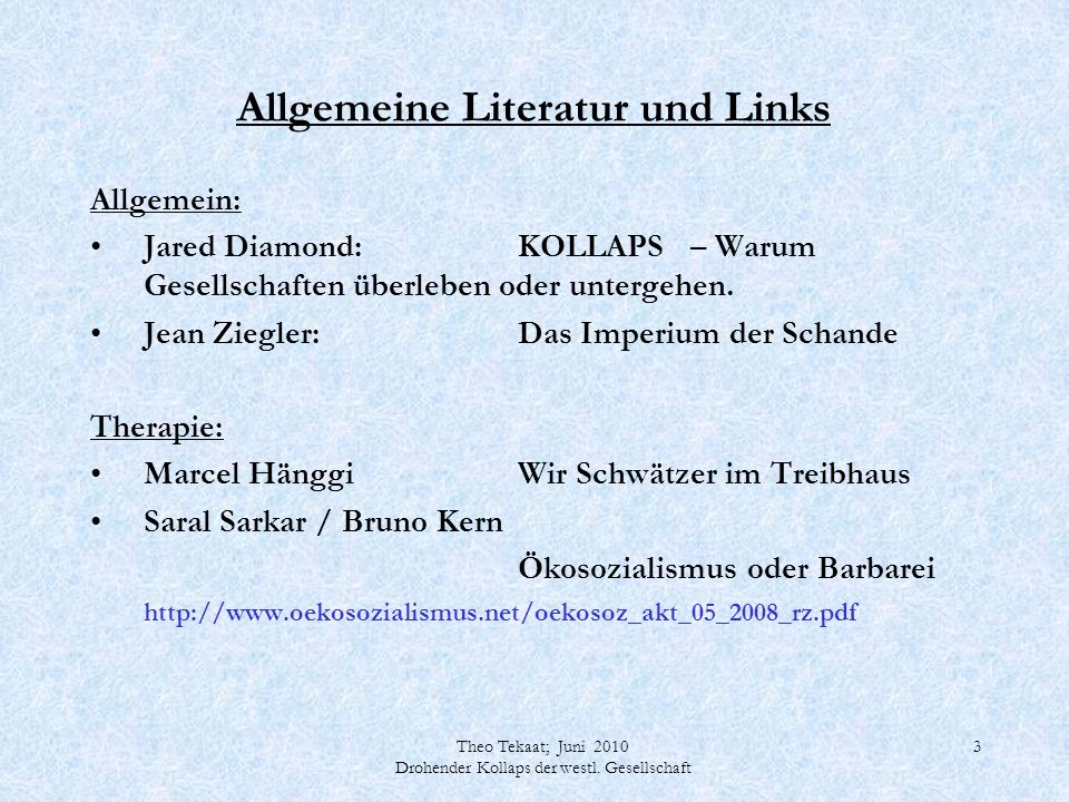Theo Tekaat; Juni 2010 Drohender Kollaps der westl. Gesellschaft 14