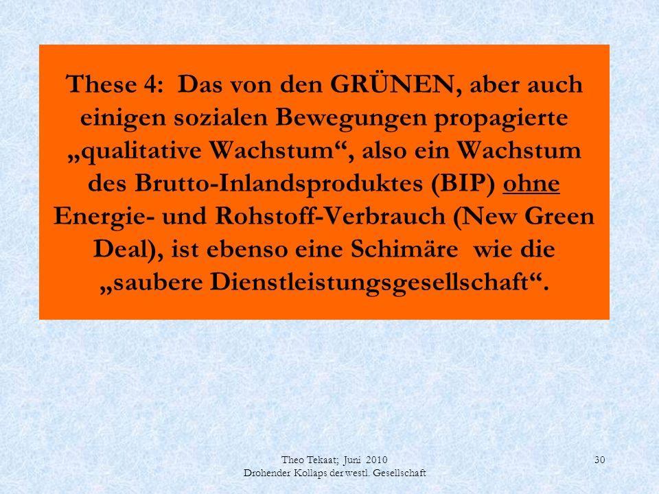 Theo Tekaat; Juni 2010 Drohender Kollaps der westl. Gesellschaft 30 These 4: Das von den GRÜNEN, aber auch einigen sozialen Bewegungen propagierte qua
