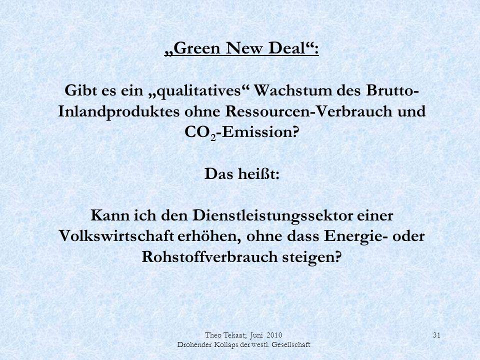 Theo Tekaat; Juni 2010 Drohender Kollaps der westl. Gesellschaft 31 Green New Deal: Gibt es ein qualitatives Wachstum des Brutto- Inlandproduktes ohne