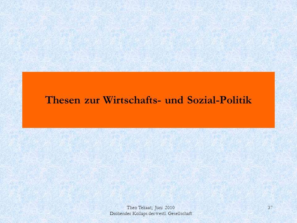 Theo Tekaat; Juni 2010 Drohender Kollaps der westl. Gesellschaft 37 Thesen zur Wirtschafts- und Sozial-Politik