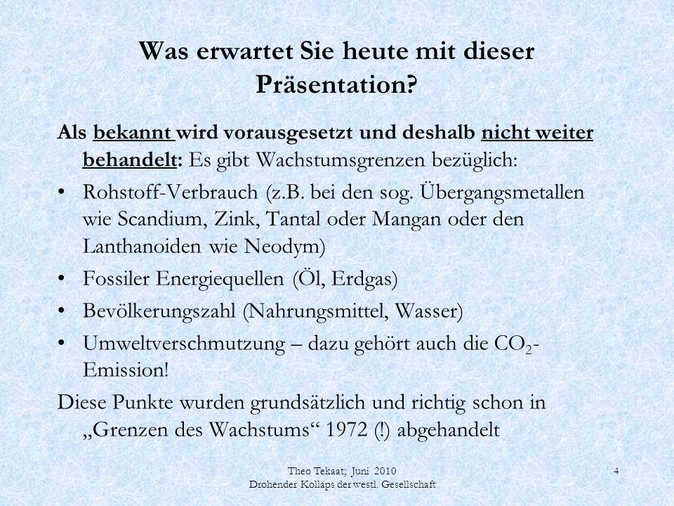 Theo Tekaat; Juni 2010 Drohender Kollaps der westl. Gesellschaft 4 Was erwartet Sie heute mit dieser Präsentation? Als bekannt wird vorausgesetzt und
