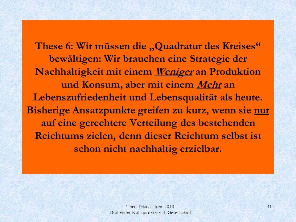 Theo Tekaat; Juni 2010 Drohender Kollaps der westl. Gesellschaft 41 These 6: Wir müssen die Quadratur des Kreises bewältigen: Wir brauchen eine Strate