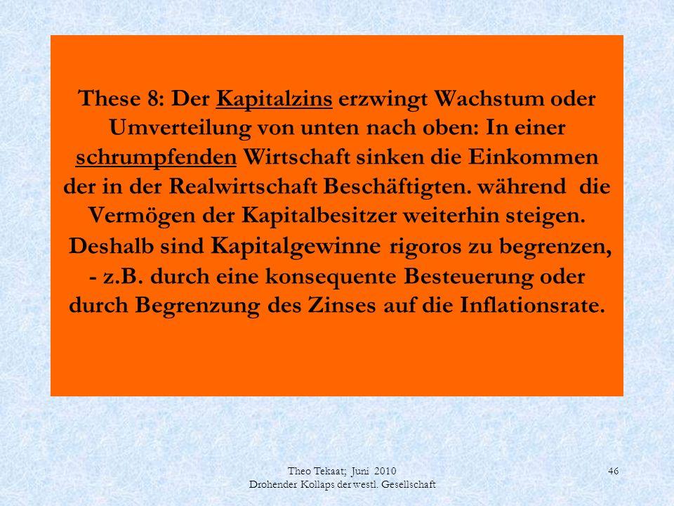 Theo Tekaat; Juni 2010 Drohender Kollaps der westl. Gesellschaft 46 These 8: Der Kapitalzins erzwingt Wachstum oder Umverteilung von unten nach oben: